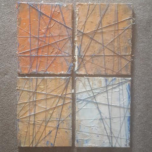 Orange abstract artwork four 11'x14' panels