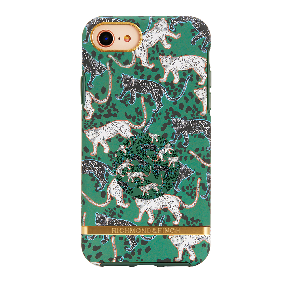 Richmond & Finch Case Green Leopard + Matching PopGrip, PopSockets