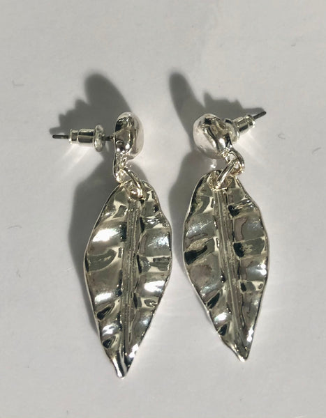 Silver finish leaf earrings for  pierced ears