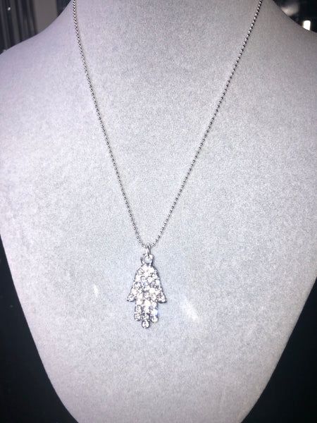 Silver tone pave hamsa necklace with extender chain