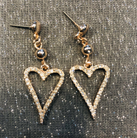 Rose gold tone diamanté drop heart earrings
