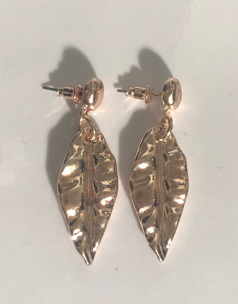 Rose gold finish leaf earrings for pierced ears