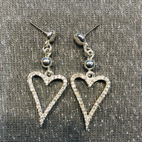 Silver tone diamanté drop heart earrings