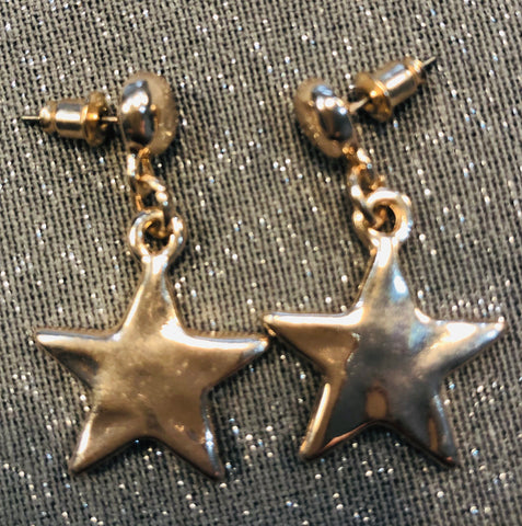 Rose tone drop star earrings