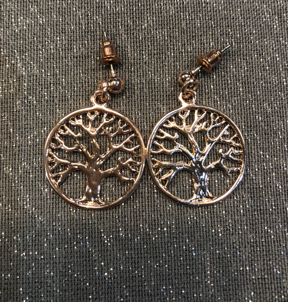 Rose gold finish tree of life drop earrings
