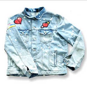 """Mischievous Cupid"" Bleach Stain Denim Jacket"