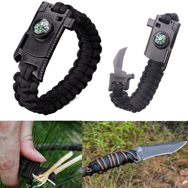 4 In 1 Survival Outdoor Emergency Paracord Bracelet  BabuBunny