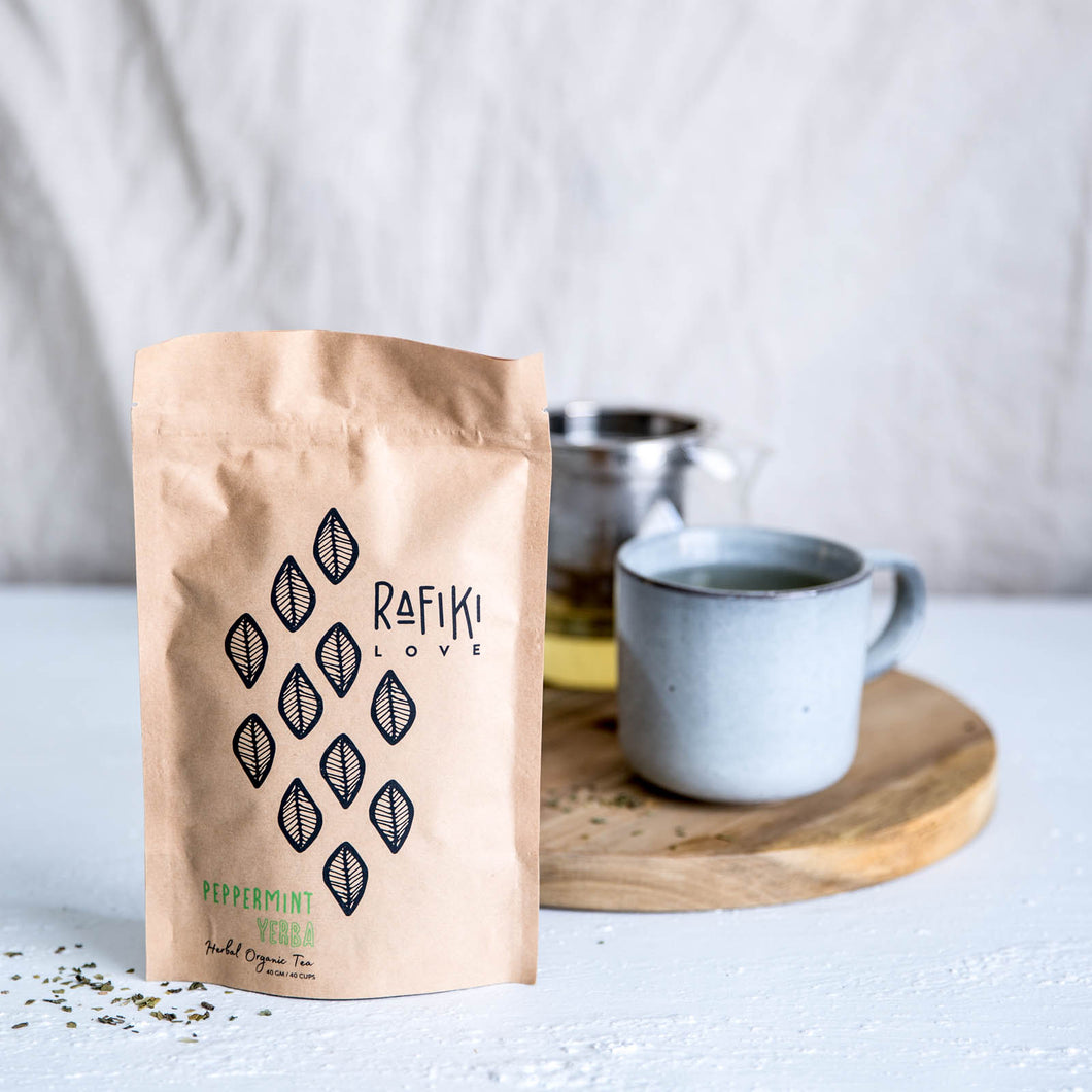 Organic Yerba Mate herbal tea blended with organic peppermint herbal tea. Perfect blend for a coffee alternative to Improve concentration, clarity, clear thinking. Natural vegan organic Australian herbal tea.