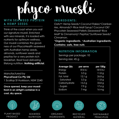 PHYCOMUESLI|for a nutritional breakfast