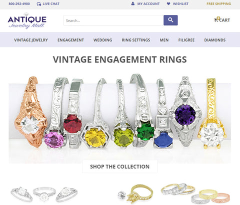 antiquejewelrymall.com home page