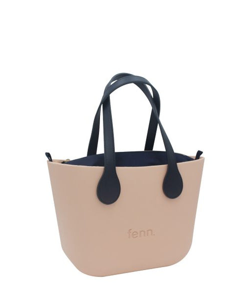 Petite PEACH with navy canvas inner and navy handles