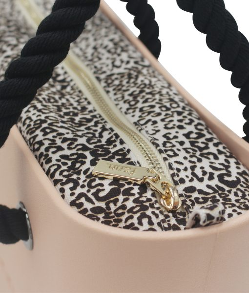 Petite PEACH with leopard print canvas inner and black rope handles