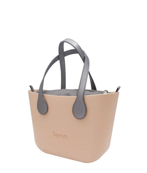 Petite PEACH with charcoal canvas inner and charcoal handles