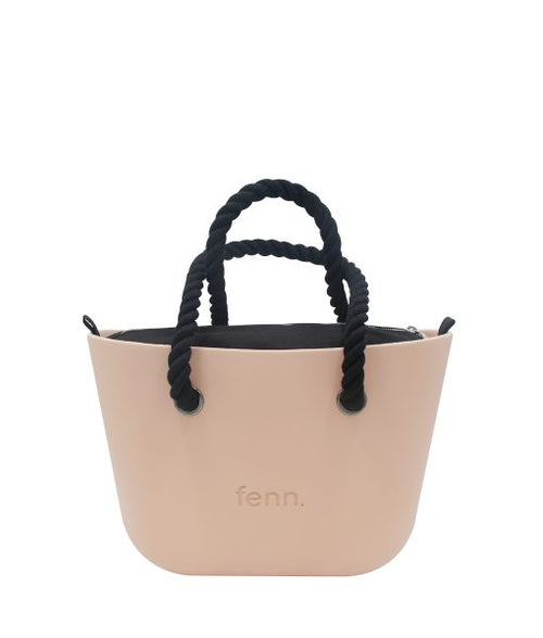 Petite PEACH with black canvas inner and black rope handles
