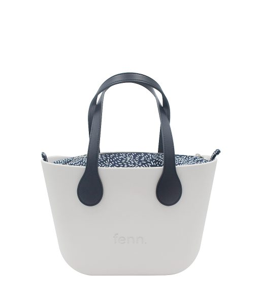 LIGHT GREY with navy and white patterned canvas inner and navy handles