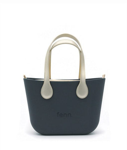 Petite LIGHT GREY with navy and white patterned canvas inner and navy handles