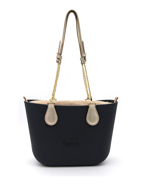 Petite CHARCOAL with champagne inner and gold chain handles