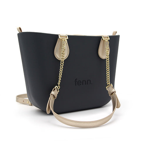 CHARCOAL with champagne inner and gold chain handles