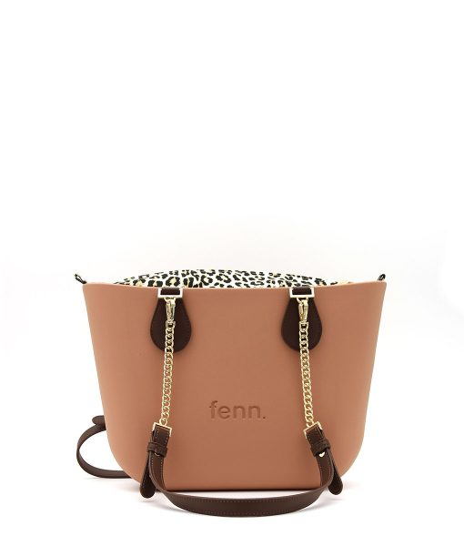 Petite ROSE BEIGE with leopard print inner and coffee / gold chain handles