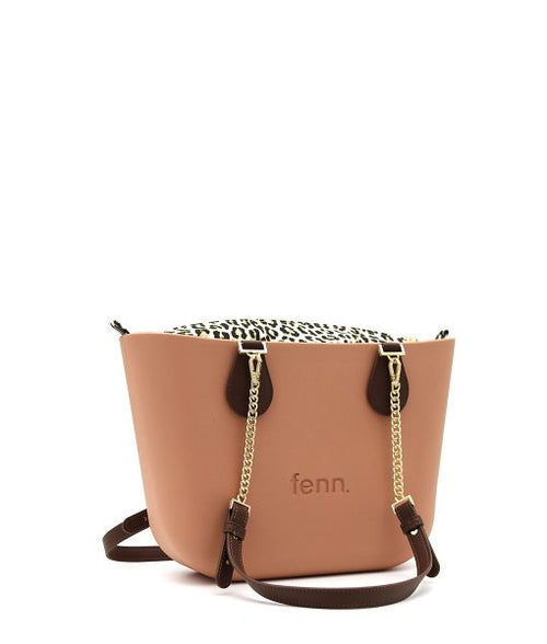 ROSE BEIGE with leopard print inner and coffee / gold chain handles