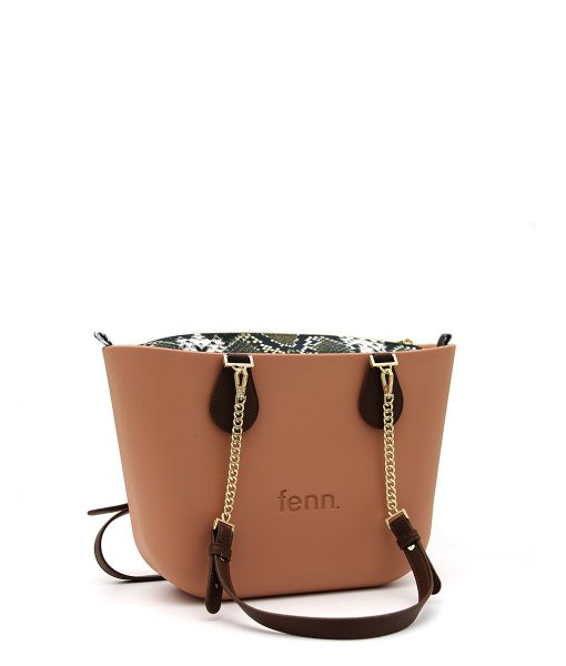 Petite ROSE BEIGE with snakeskin print inner and coffee / gold chain handle