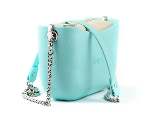 Classic TURQUOISE with beige canvas inner and silver chain strap