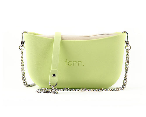 Classic LIME GREEN with beige canvas inner and silver chain strap