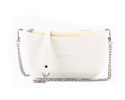 Classic WHITE with beige canvas inner and silver chain strap
