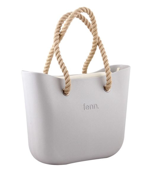 LIGHT GREY with beige canvas inner and rope handles