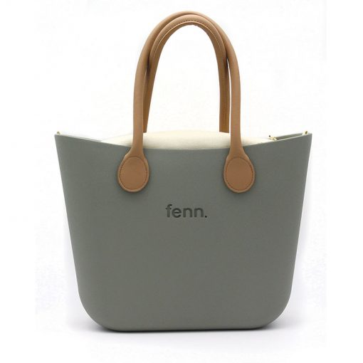 OLIVE GREEN with beige canvas inner and tan handles
