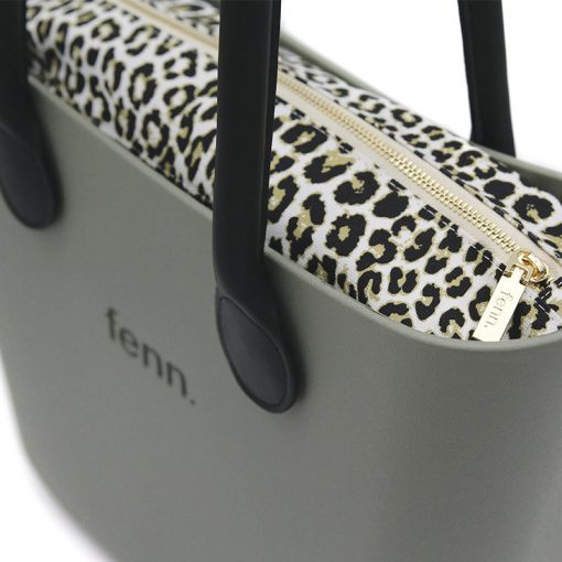 OLIVE GREEN with leopard print inner and black handles