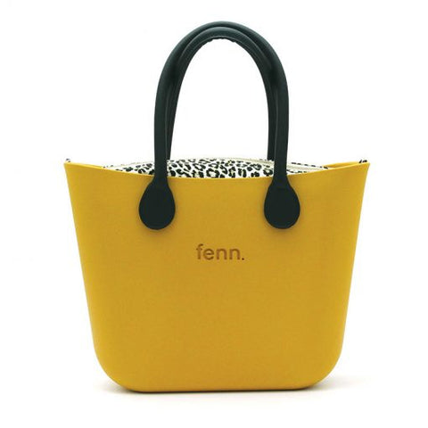 MUSTARD YELLOW with snakeskin print canvas inner and black handles