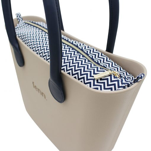 STONE with navy and white patterned canvas inner and navy handles