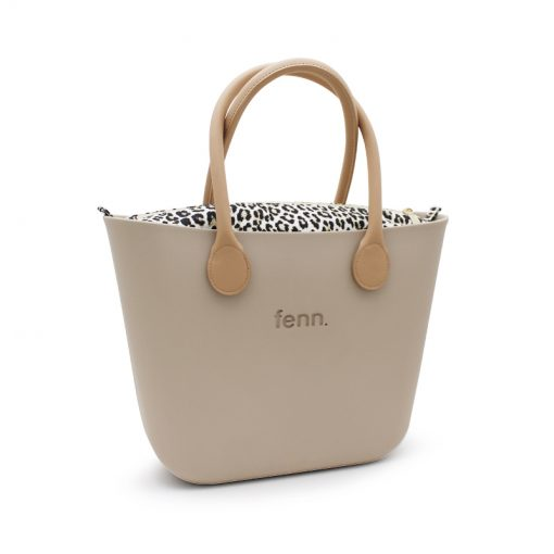 Original STONE with leopard print canvas inner and tan handles