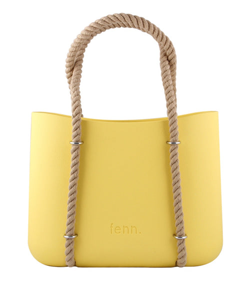 Maxi YELLOW with beige canvas inner and rope handles
