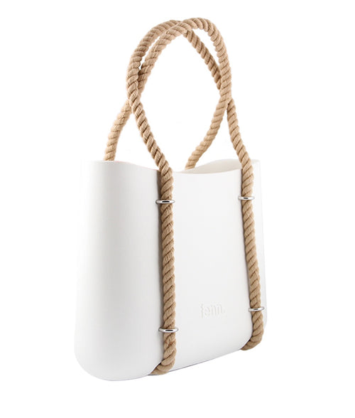 Maxi WHITE with beige canvas inner and rope handles
