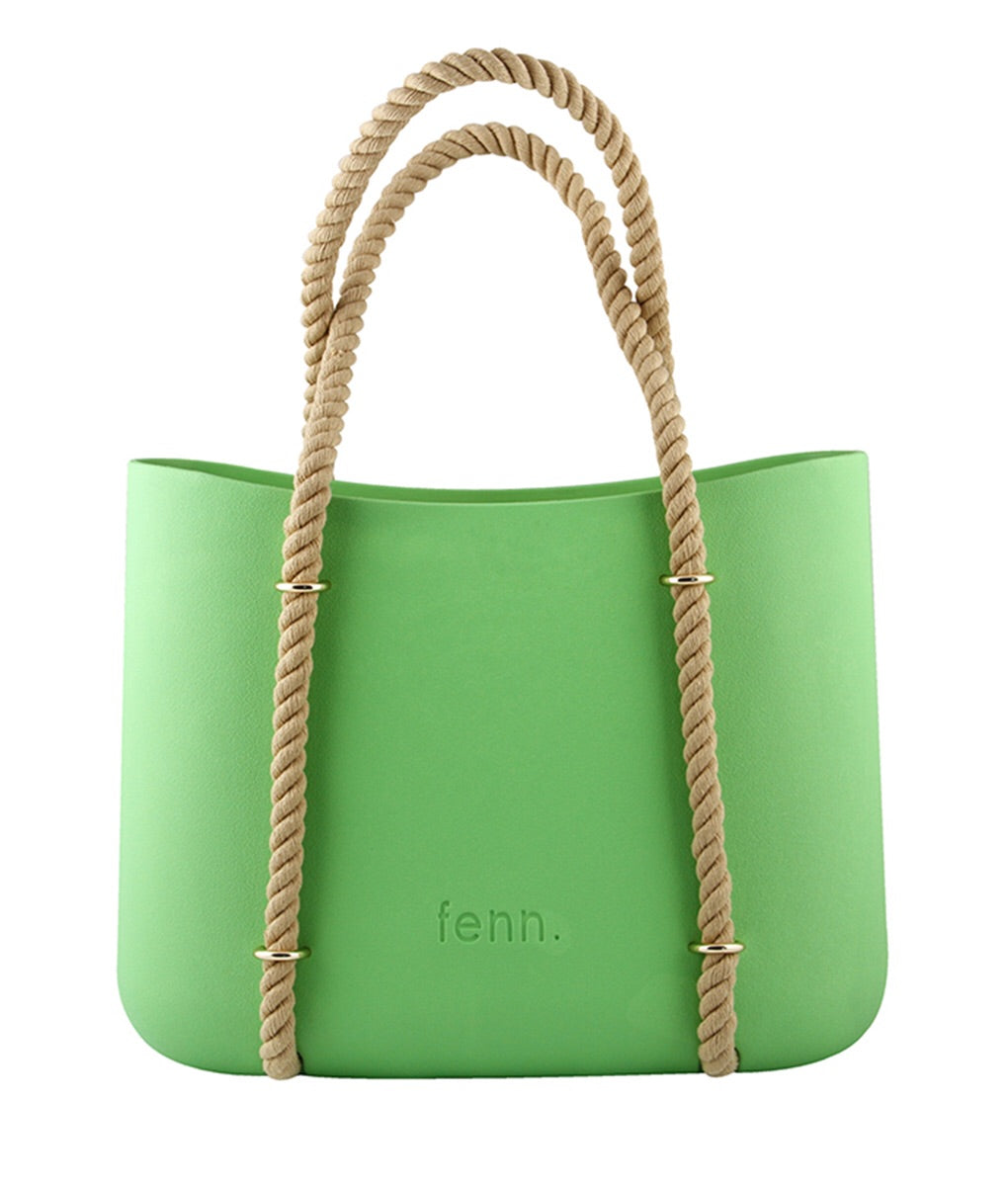 Maxi GREEN with beige inner and rope handles