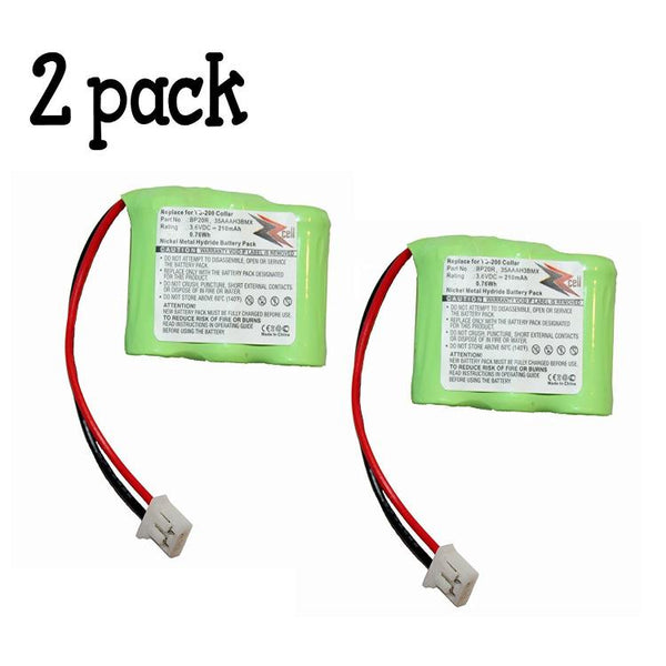 2-Pack ZZcell Battery for Dogtra Receiver 175NCP, 200NCP, 202NCP, 280NCP, 282NCP, 300M, 302M, 7000M, 7002M, EF-3000 Old, YS-200 Remote Controlled Dog Training Collar