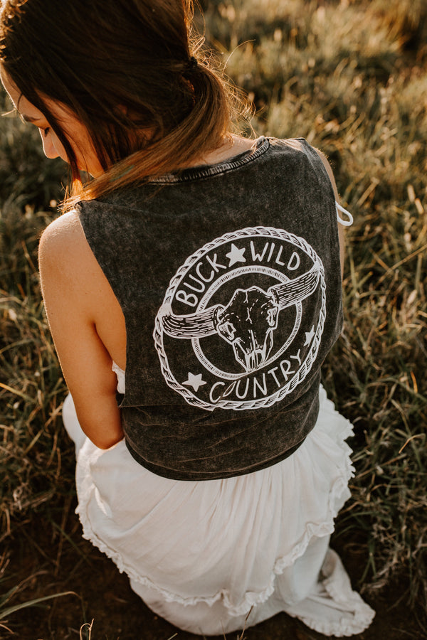 STONE WASH BLACK WILD ONES SINGLET