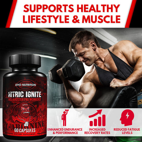 Nitric Ignite - Pre-Workout L-Arginine NO2 Booster - Eiyo Nutrition -  Eiyo Nutrition