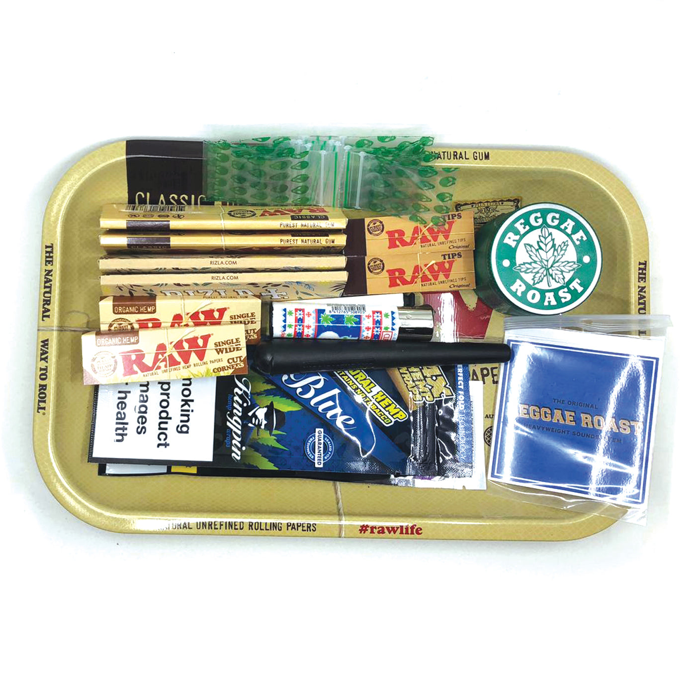 Raw Rolling Tray Bundle (With Reggae Roast Aliminium Grinder)