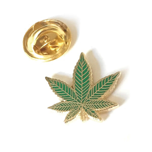 Gold Plated Herb Leaf Enamel Pin Badge