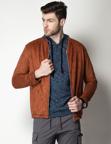 Cheeky Rust Suede Bomber Jacket