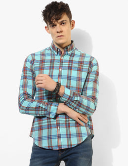 Shredded Blue Madras Shirt - Tuck N Stitch