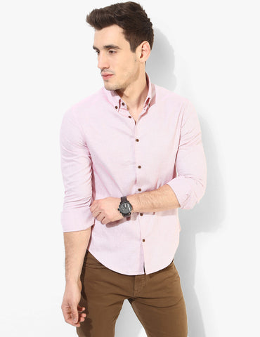 Reddish Pink Textured Shirt - Tuck N Stitch