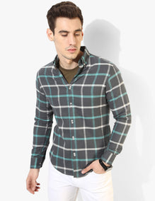 Twin Button Grey Checked - Tuck N Stitch