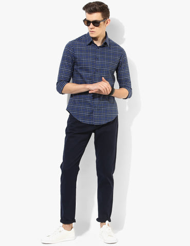 Active Navy Blue Check Shirt