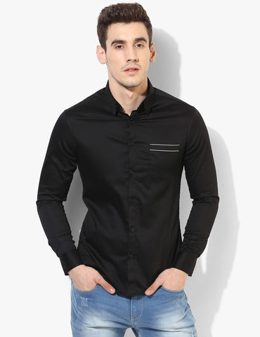 Cosmopolitan Black Casual Shirt - Tuck N Stitch