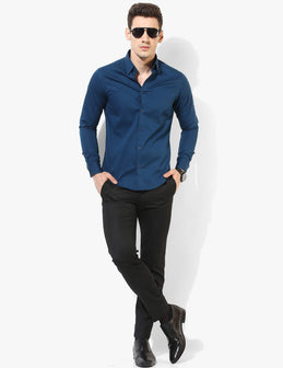 Distinctive Blue Pintucks Shirt - Tuck N Stitch