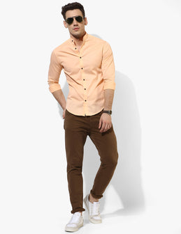 Sturdy Peach Solid Shirt - Tuck N Stitch